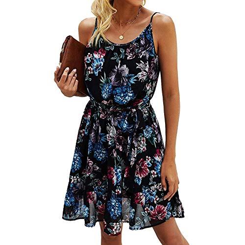 Masrin Damen Dundress Sommer Blumendruck Skater Kleid mit Gürtel Ärmelloses Leibchen Knielanges A-Linie Kleid Swing Kleid Strandkleid(M,Schwarz)
