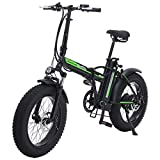 Shengmilo Bicicleta eléctrica de 20 Pulgadas Bicicleta eléctrica, Bicicleta eléctrica Plegable, Fat Tire Ebike, 48V 15AH, 500W (Negro)