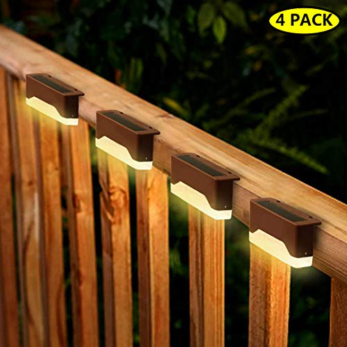 Solar Step Lights Outdoor, Waterproof LED Solar Deck Lights for Stairs, Patio, Fence, Walkways - Auto On/Off 4 Pack (Warm Light)