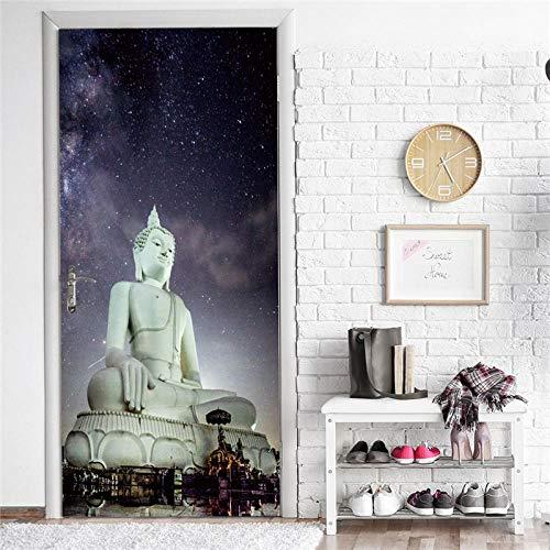 WWMTH Deurafbeelding zelfklevende deurposter deurafbeelding deursticker fotobehang vinyldeur achtergrond oosterse Boeddha-beeld woonkamer slaapkamer kinderkamer DIY afneembare deur kunst decoratie 90x210cm