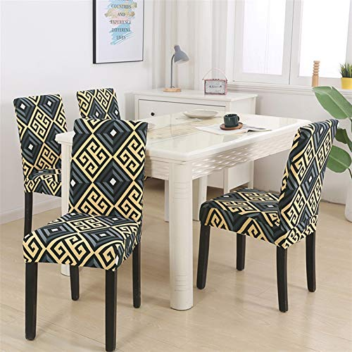 Dining Chair Pad 1/2/4/6pcs Geometric Chair Covers Spandex Elastic Stretch Decoration Chair Dining Seat Cushion Anti-dirty Washable Seat Pad (Color : Pattern 24, Specification : 2pieces)