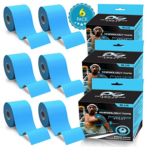 Physix Gear Sport Kinesiology Athletic Tape - Sports Injury Tape for Knee, Joint, Muscle Support - Adhesive Kinetic Tape/KT Tape - Improve Blood Circulation, Swelling, Strain Relief (6 Pk Blue)