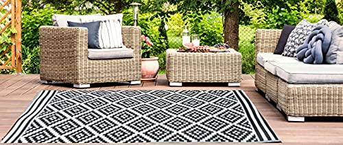 Jet-Line Garten Outdoor Teppich Austin schwarz Verschiedene Größen Wetterfest In und Outdoor Terrasse Balkon Gartenteppich Schwarz 150 x240 cm