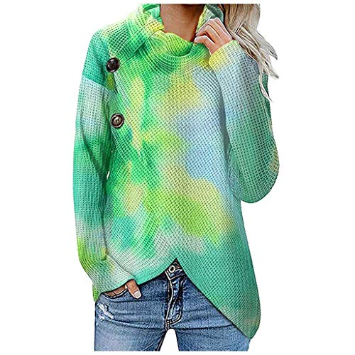 Lazzboy Store Pullover Damen Tie-dye Langarm Frauen Herbst Winter Casual Rollkragenpullover Tops Lose Pullis Oberteil Rollkragen Outwear S-2XL (S,Grün)