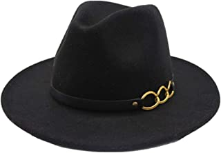 Fashion Sun Hat for Fedora Men Women Hat Wool Leather Bandwidth Metal Chain Fedora Top Jazz Hat European American Hat Suitable for hot Weather Season (Color : Black, Size : 56-58CM)