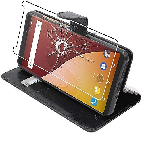 ebestStar - kompatibel mit Wiko View Prime Hülle Kunstleder Wallet Case Handyhülle [PU Leder], Kartenfächern Standfunktion, Schwarz + Panzerglas Schutzfolie [Phone: 152.3 x 72.8 x 8.3mm, 5.7'']