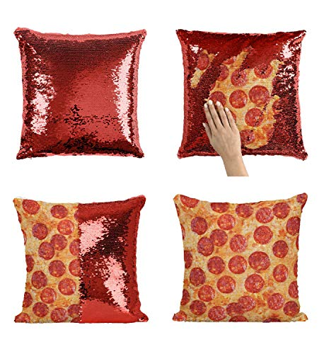 Pizza Pepperoni P121 Sequin Pillow, Sequin Pillowcase, Funny Pillow, Two color pillow, Present Pillow, Gift for her, Gift for him, Magic Pillow, Mermaid Pillow [With Insert]
