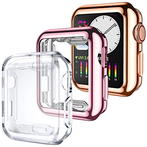 Dirrelo 3 Pack Case Compatible with Apple Watch Series 3/2/1 42mm Screen Protector, Full Cover Protective Case Soft TPU Bumper Cover Compatible with iWatch Series 3/2/1, Clear/Rose Gold/Pink