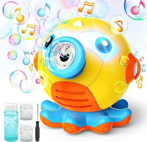 WolinTek Juguetes De Baño Pulpo, Juguete de Baño para Bebé,Máquina de Burbujas para Bañera,Juguetes para el Agua, Máquina de Burbujas Juguetes Reflejo con Melodías Musicales para Bebé