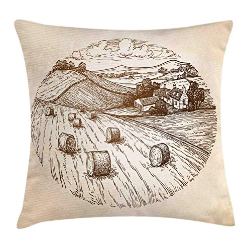 Fleeting Art Studio 3 fundas de cojín cuadradas cálidas, estilo vintage, boceto de una granja, cosecha, campiña, pueblo, retro, colinas, para decoración de sofá, dormitorio, 50 x 50 cm
