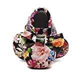 Bebila Genuine Leather Baby Moccasins - Floral Print Slippers for Girls Bowknot Fringe Baby Shoes with Soft Sole for Infant/Toddler/First-Walker (6-12Months/5.5 M US Toddler/12.5cm, D)