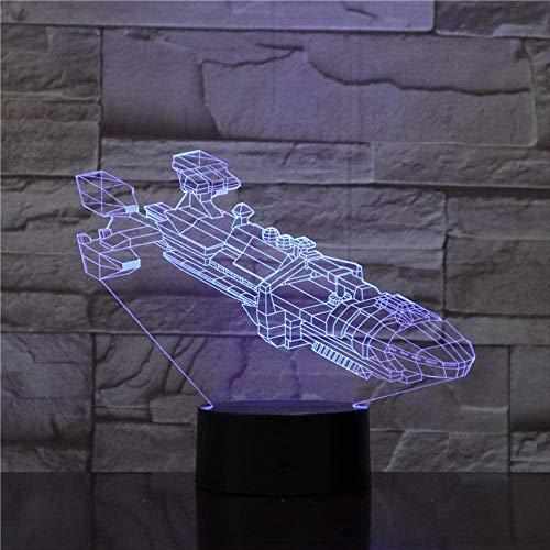 ilusión 3D Lámpara de luz nocturna Acorazado aeroespacial lámpara de escritorio creativa para cumpleaños Con interfaz USB, cambio de color colorido