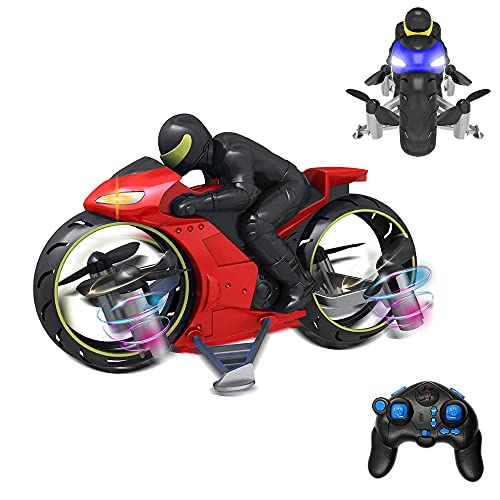 NEXTAKE Flying Motorbike, Dual Modes Land Air Motorbike Creative Remote Control Motorbike 2.4G RC Mini Drone Toy Stunt Motorbike with 360° Rollover and LED Light Effect (Red)
