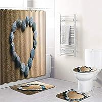 浴室防水のための愛のシャワーカーテンセット、12のフックバスマットトイレ蓋カバーすべり止めマット敷物で、バレンタインデーのための8つの愛のパターン heart2-180~45*75cm