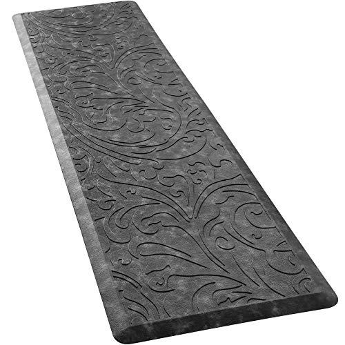 "KMAT Kitchen Mat Cushioned Anti-Fatigue Floor Mat Waterproof Non-Slip Standing Mat Ergonomic Comfort Floor Mat Rug for Home,Office,Sink,Laundry,Desk 17.3"" (W) x 60""(L), Grey"
