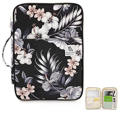 Travel Portfolio Organizer Portable Planner Padfolio Case Mulit-Function Zipperde Pouch for Ipad, Mac, Notebook, Pens, Tablet, Documents (Hibiscus-White)