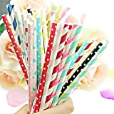 E Shopping® Biodegradable Paper Drinking Straws pack of 100pcs with 6mm diameter