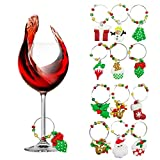 Outgeek 12PCS Creative Loop Goblet Markers Christmas Wine Glass Charms Decoration