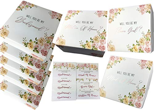 Bridesmaids Proposal Gift Boxes Set of 8 with Rose Gold Foil Letters & Proposal Cards to Ask Bridesmaids, Maid & Matron of Honor & Flower Girl (5 Bridesmaids, 1 MatronH, 1 MaidH, 1 FlowrGrl, 8)