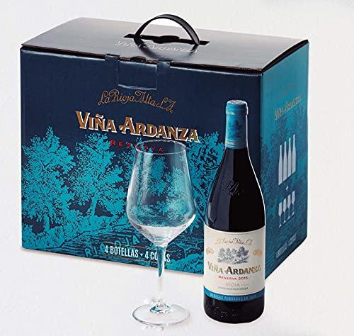 Viña Ardanza - Pack Especial Vino Tinto Reserva D.O.C Rioja Alta Variedad Tempranillo y Garnacha | Añada 2015 | Pack Estuche Especial 4 Botellas de 75 cl + Copas