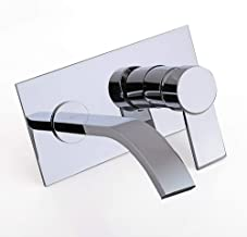 AUXO Commercial Bathroom Faucet, Widespread Basin Faucet Wall Mounted Single Handle Vanity Sink Mixer Tap and Rough in Valve Included, Polished Chrome