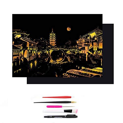 YWXKA Scratch Art papier, magie kleurrijke tekenplank, doe-het-zelf nachtzicht, voor volwassenen en kinderen, met 5 gereedschappen en fotolijst