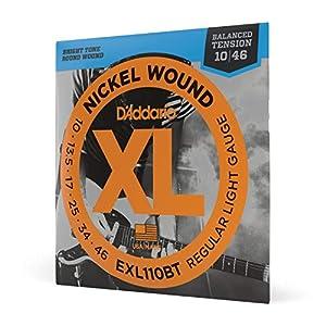D'Addario EXL110BT Balanced Tension Regular Leicht Nickel Wound Elektrische Gitarrensaiten, 10-46