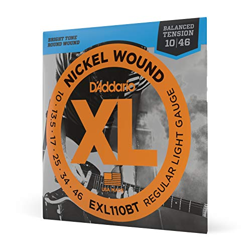 D'Addario EXL110BT Balanced Tension Regular Leicht Nickel Wound Elektrische Gitarrensaiten, 10-46