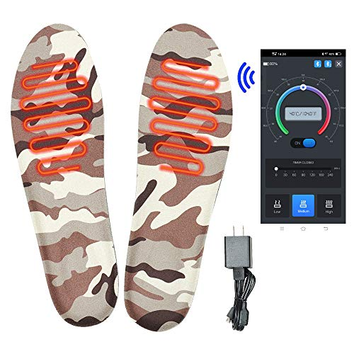 MANTUOLE Rechargeable Smart Heated Insoles. Control Remotely with Bluetooth Enabled Smartphone app. Works up to 6+Hours. Great for Skiing, Hunting, Hiking, Camping, or Outdoor Sports,Size M.