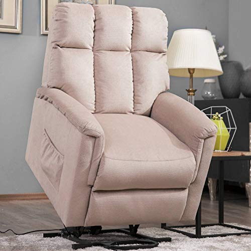 XM&LZ Lift Chair for Elderly Upholstered,Power Lift Chair Soft Fabric Chaise Lounge Living Room Sofa with Remote Control Lazy Sofa Beige