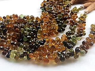 """8"""" strand natural petro tourmaline 4x6 mm-5x7 mm, tear drop faceted beads - petro tourmaline faceted teardrops, tourmaline beads, petro tourmaline necklace, 4x6mm - 5x7mm, 8 inch,"""