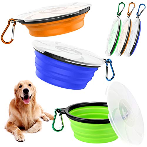 Qianyou 3 Stück Faltbare Hundenapf mit Deckel, Silikon Haustier Klappbarer Reisenapf, Tragbare Hundenäpfe Auslaufsichere Trinkschale für Katzen, Trinknapf Hund für Unterwegs Camping Reise (1000ML)