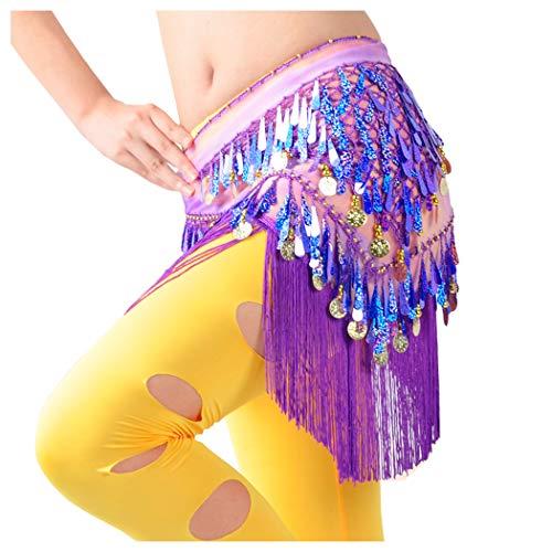 WZT Belly Dancing Belt Colorful Waist Chain Belly Dance Hip Scarf Belt (Purple)