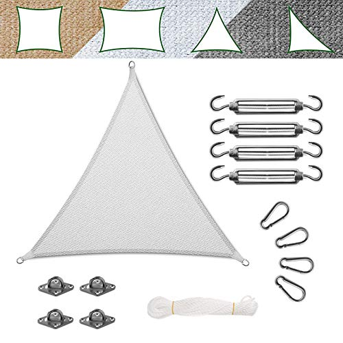 casa pura Voile d'Ombrage - Toile + Kit de Fixation Inclus   Voile d'Ombrage Triangulaire Résistante UV   Toile Tendue en 9 Tailles   Blanche - 3x3x3m + Accroche