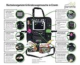 Rücksitzorganizer und Kinderwagentasche, Tabletfach mit Belüftung, Taschen für Feuchttücher, Flaschen, Spielzeug - Rückenlehnenschutz für entspanntes Reisen mit Kindern