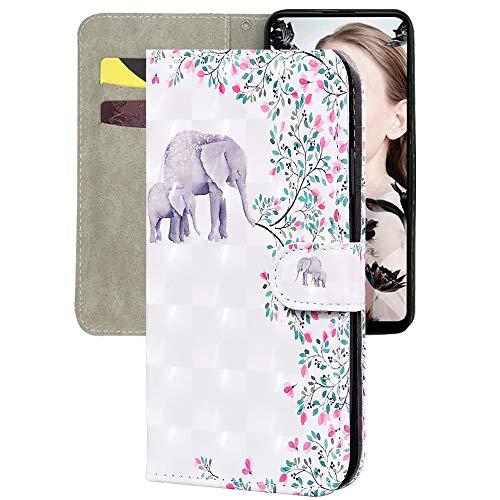Capa carteira XYX para Huawei P40 Lite, capa carteira flip colorida de couro PU à prova de choque fecho magnético com compartimentos para cartão, elefante floral