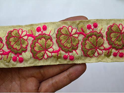 Cinta de tela bordada de 1.5 pulgadas por 9 yardas indias con encaje y ribetes para costura decorativa, ribete de sari, cinta para disfraz, cinta para manualidades