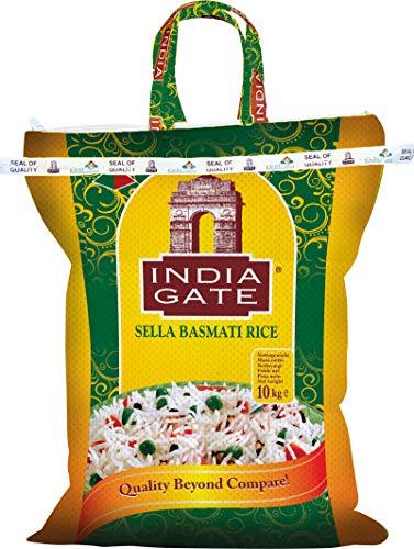 INDIA GATE Sella Basmati Rice, parboiled (aus Indien, feines Langkorn) aromatisch, Vorratspackung - 1er Pack (1 x 10 kg)