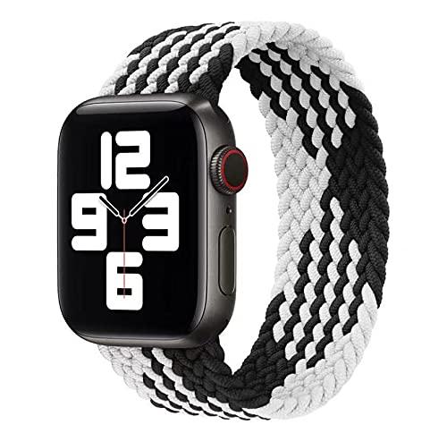 Apple watch バンド ブレイデッドソロループ (ホワイト+ブラック)