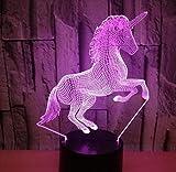 Cuento de hadas clásico Pequeño unicornio Caballo Alas de mosca Dibujos animados Leyenda linda Animal Luz de noche 3d Lámpara de mesa Sala de estar Decoración de Navidad Regalo para niños