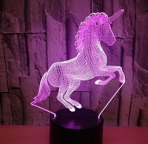 3D LED Luce notturna Scrivania Lampada da tavolo Camera Decorazione per la casa Compleanno Regalo per bambini Cartone animato Cavallo carino Unicorn Flying Wings Fairy Tale Girl