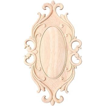aplique de esquina sin marco 4 piezas de madera tallada en madera 12 x 12 cm marco de forma de flor sin pintar para la puerta del hogar decoraci/ón de la cama del gabinete Apliques de muebles