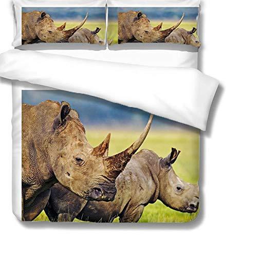 zzqxx Funda Nordica Infantil Niña Rinoceronte 3D Juego de Funda de Edredón 200x200cm con Cierre de Cremallera 100% Poliéster y Dos Almohadas 50x75cm para Adulto Juvenil