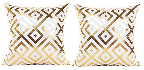 2 kussenslopen vierkant kussen - sierkussen - 44 x 44 cm - bank - linnen - huis - bed - meubels - slaapkamer - fantasie - ruit - wit - goud bedrukt - origineel geschenkidee