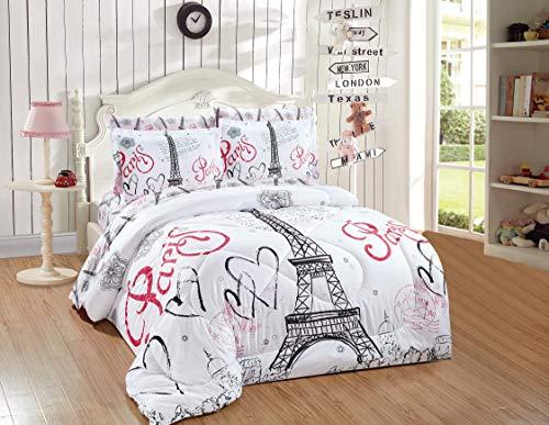 Kids Zone Home Linen 7pc Full Comforter Set Paris Eiffel Tower Hearts Flowers for Girls/Teens White Pink Black (White, Full Comforter)