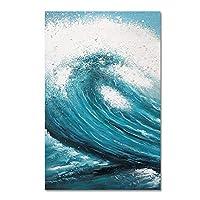 """キャンバスウォールアート抽象青い海の波風景絵絵画ポスターとプリントリビングルームオフィスの家の装飾23.6"""" x43.3""""(60x110cm)フレームレス"""