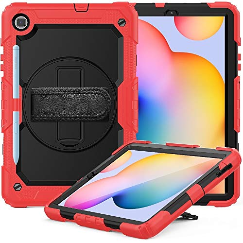 CellphoneParts BZN For Samsung Galaxy Tab S6 Lite P610 Shockproof Colorful Silicone + PC Protective Case with Holder & Shoulder Strap & Hand Strap & Pen Slot(Orange)(Black)(Red) etc (Color : Red)