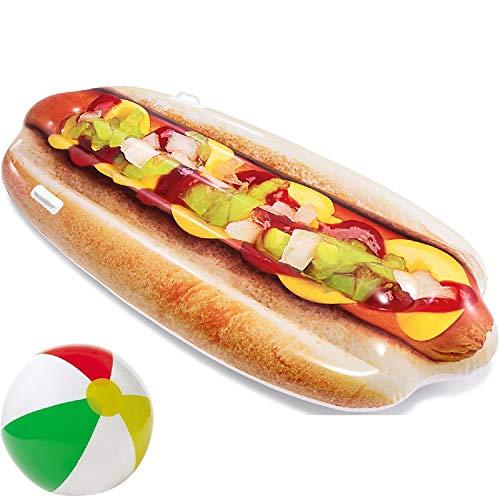 Luftmatratze Motiv Float Hot Dog aufblasbar mit Griffen witzig lustig 180 x 89 cm für Wasser Strand Party Deko Spielzeug Wasserspielzeug Sommerspielzeug Kinder Erwachsene