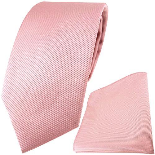 TigerTie Designer Krawatte Einstecktuch in rosa altrosa einfarbig uni Rips