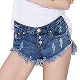De las mujeres Vintage Borla Botón Arrancado Suelto Denim Corto Jeans Punk Sexy Mujeres Cortos Feminino